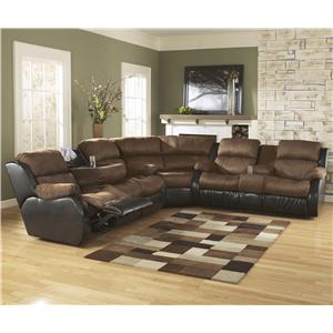 Signature Design by Ashley Presley - Espresso Motion Sectional w/ Sofa w/ Drop Down Table