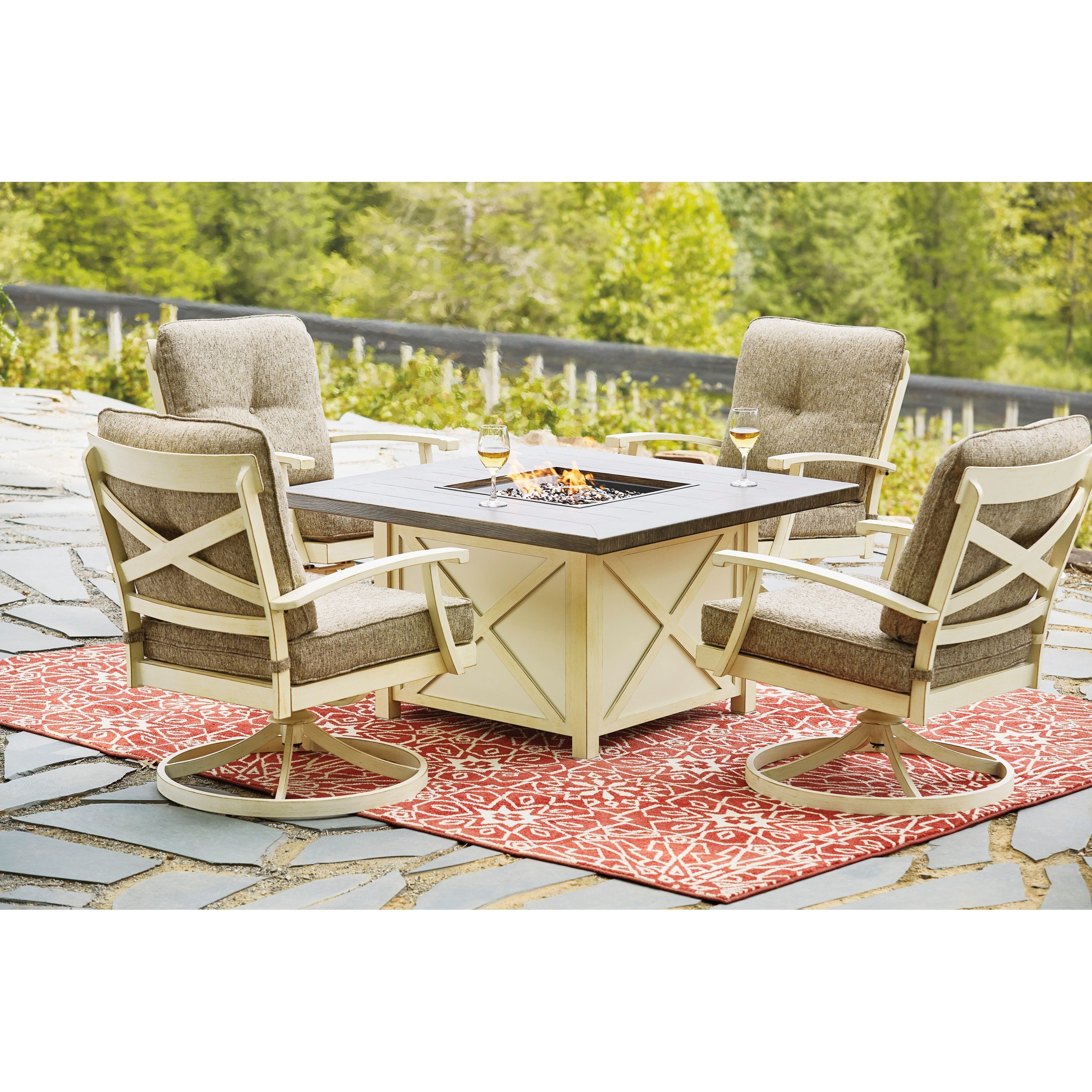 Preston Bay Outdoor Firepit Table Set by Signature Design by Ashley at Miller Waldrop Furniture and Decor