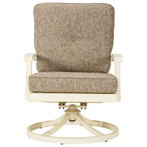 Set of 2 Swivel Lounge Chairs with Cushions