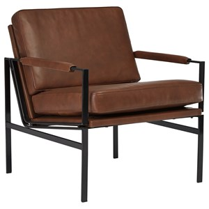 Brown Leather Accent Chair with Metal Frame