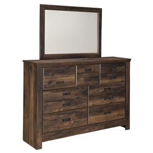 Rustic Dresser with 7 Drawers & Mirror