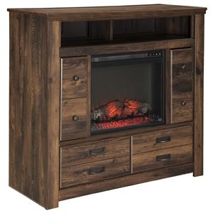 Rustic Media Chest with Fireplace Insert & Doors