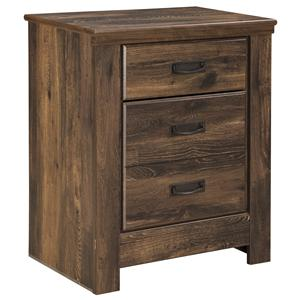 Rustic Two Drawer Night Stand with Dual USB Charger