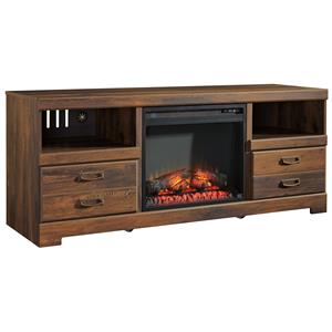 Rustic Casual Large TV Stand with Fireplace Insert