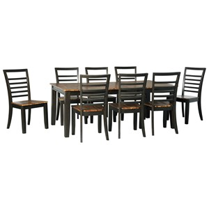 Contemporary 9-Piece Dining Table and Chair Set