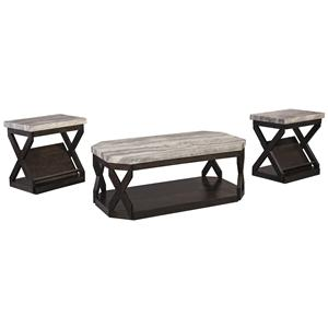 3-Piece Occasional Table Set with Faux Travertine-Look Top