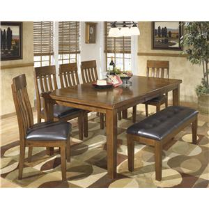 Casual 7-Piece Dining Set with Butterfly Extension Leaf & Bench