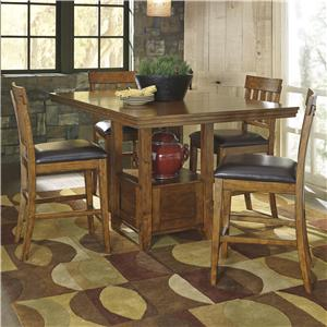 Casual Dining Table Set with 4 Bar Stools
