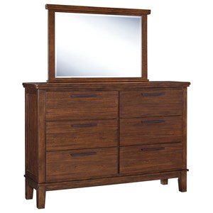 Dresser with Contemporary Bar Pulls & Bedroom Mirror