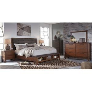 4PC Queen Bedroom Set w/ Upholstered Storage Bed
