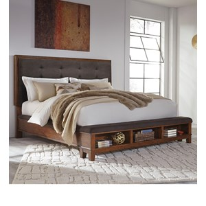 Queen Upholstered Bed with Bench Storage Footboard