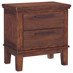 Two Drawer Night Stand with Contemporary Bar Pulls