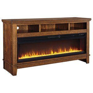 Contemporary Extra Large TV Stand w/ Wide Fireplace Insert