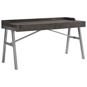 Contemporary Metal/Wood Home Office Desk in Grayish Brown Finish