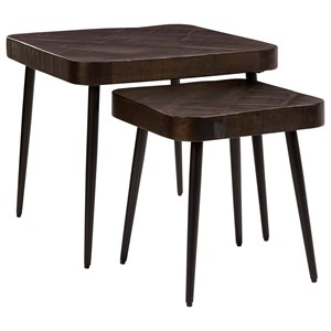 2-Piece Solid Wood/Metal Nesting Accent Table Set