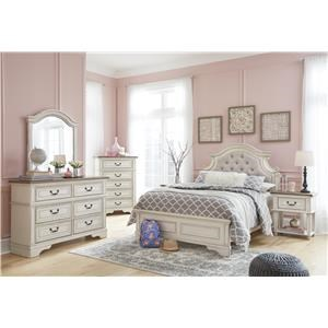 Full Upholstered Bed, Nightstand and Chest