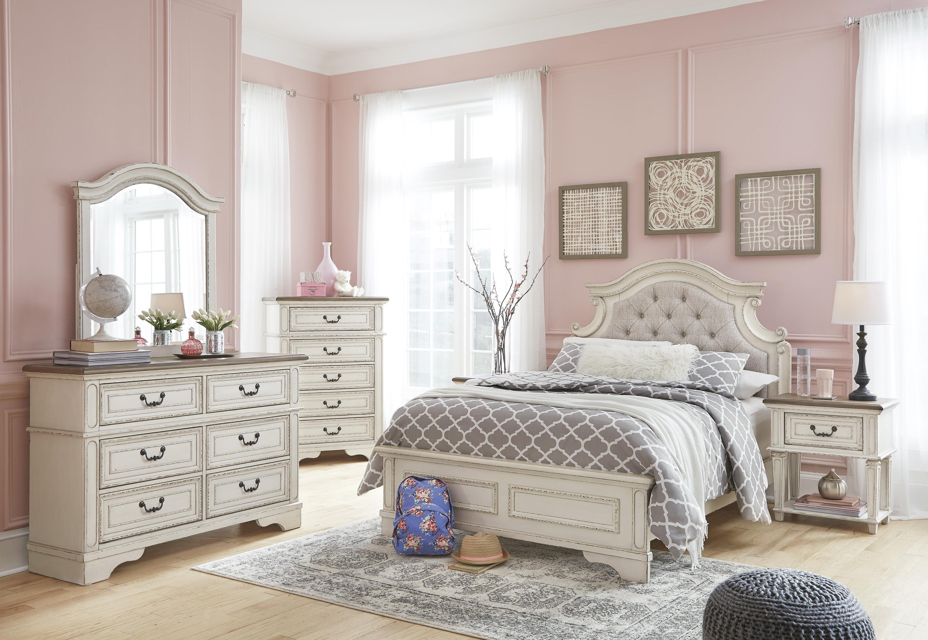 Twin Upholstered Panel Bed Package