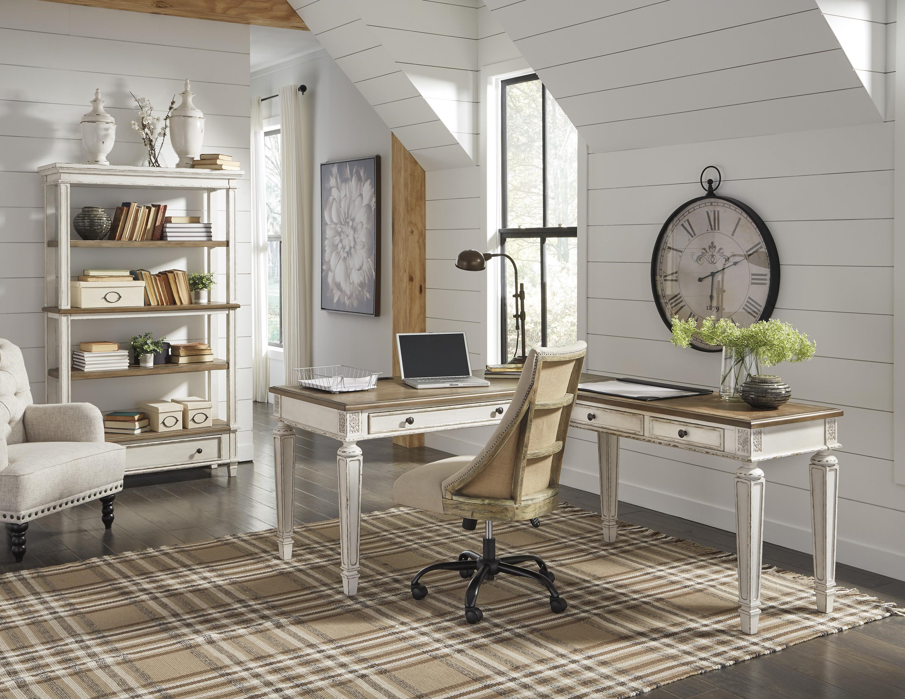 Realyn Home Office Desk and Return, Office Chair an by Signature Design by Ashley at Sam Levitz Furniture