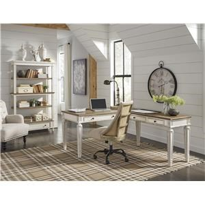 Home Office Desk and Return, Office Swivel Chair and Bookcase Set