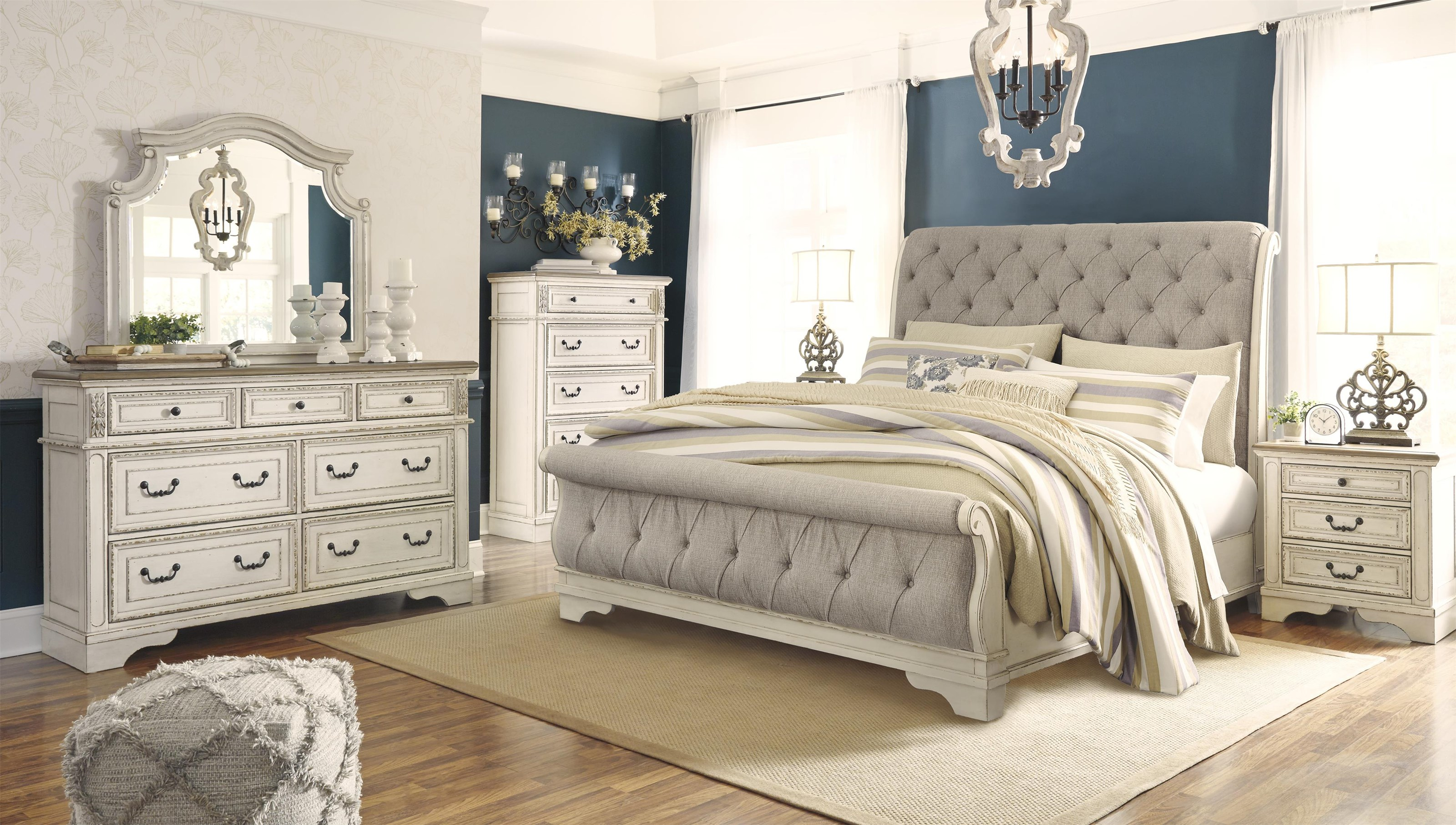 King UPH Sleigh Bed Package