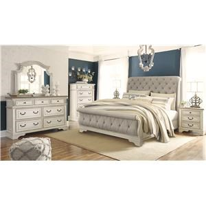 King Upholstered Sleigh Bed, Dresser, Mirror, Nightstand and Chest