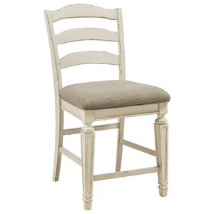 Counter Height Upholstered Barstool with Ladderback