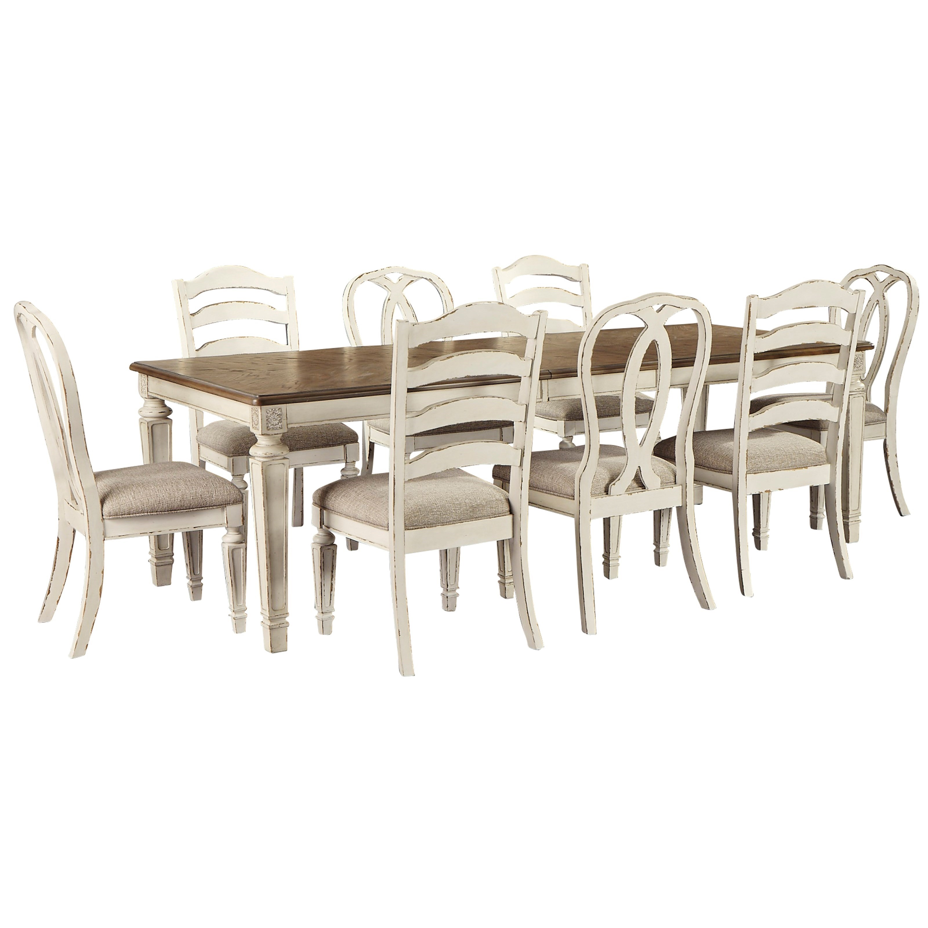 Realyn 9-Piece Table and Chair Set by Ashley (Signature Design) at Johnny Janosik