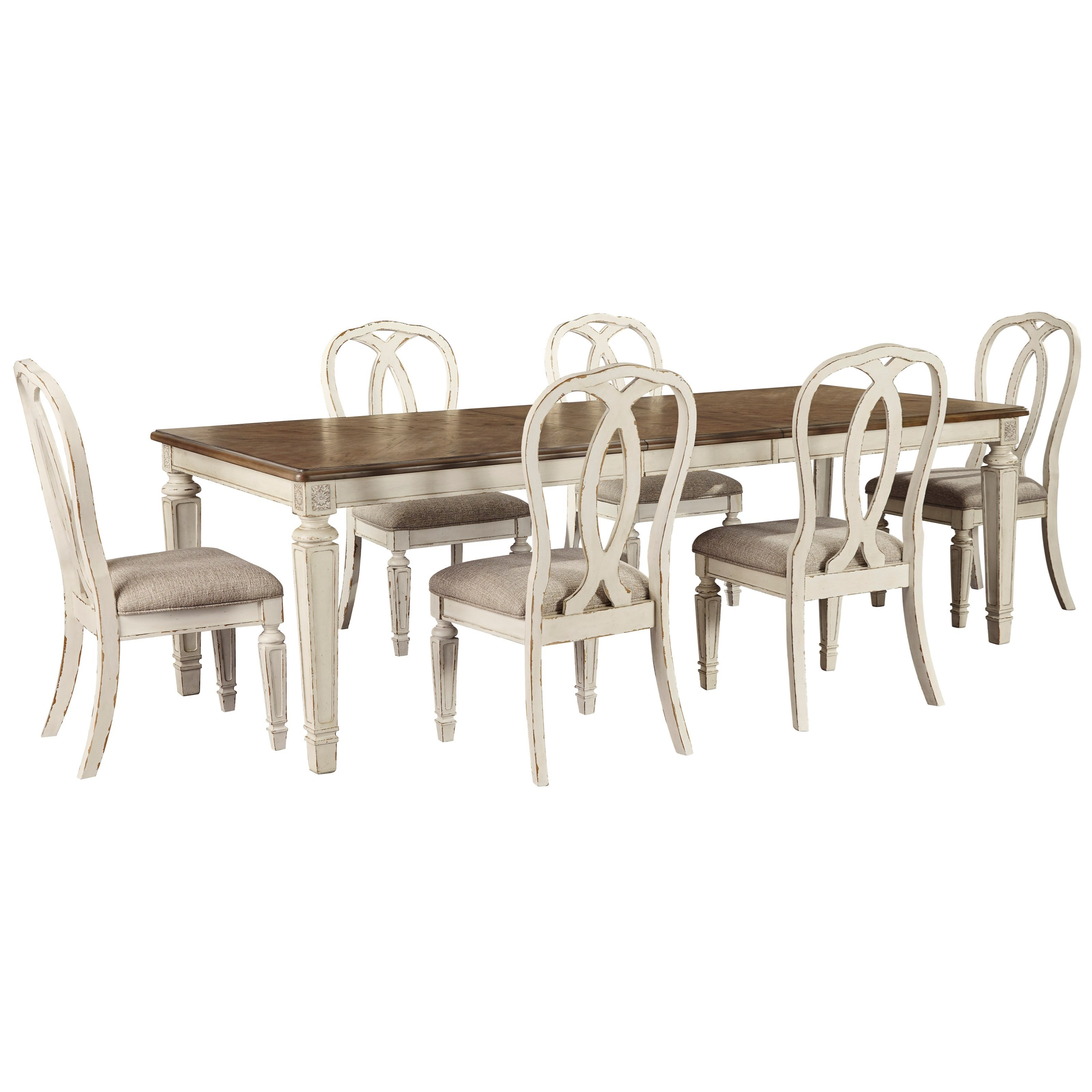 Realyn 7-Piece Rectangular Table and Chair Set by Ashley (Signature Design) at Johnny Janosik