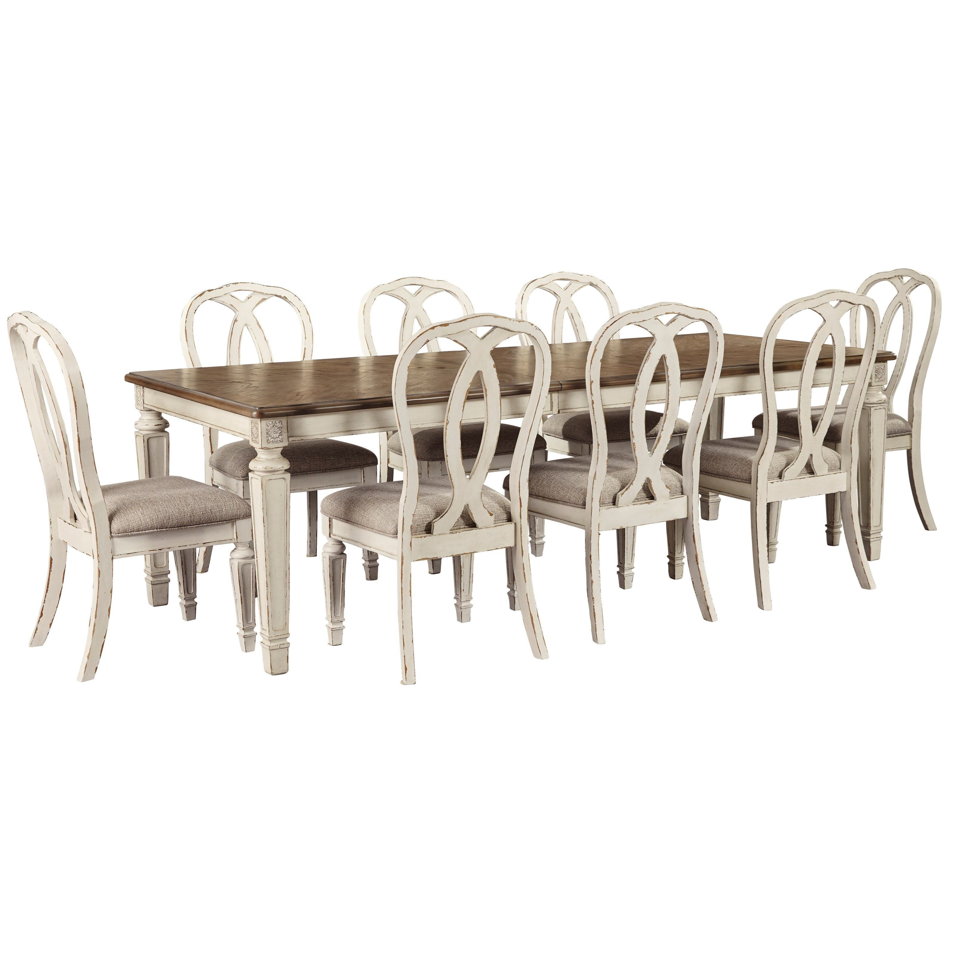 Realyn 9-Piece Rectangular Table and Chair Set by Signature Design by Ashley at Zak's Warehouse Clearance Center