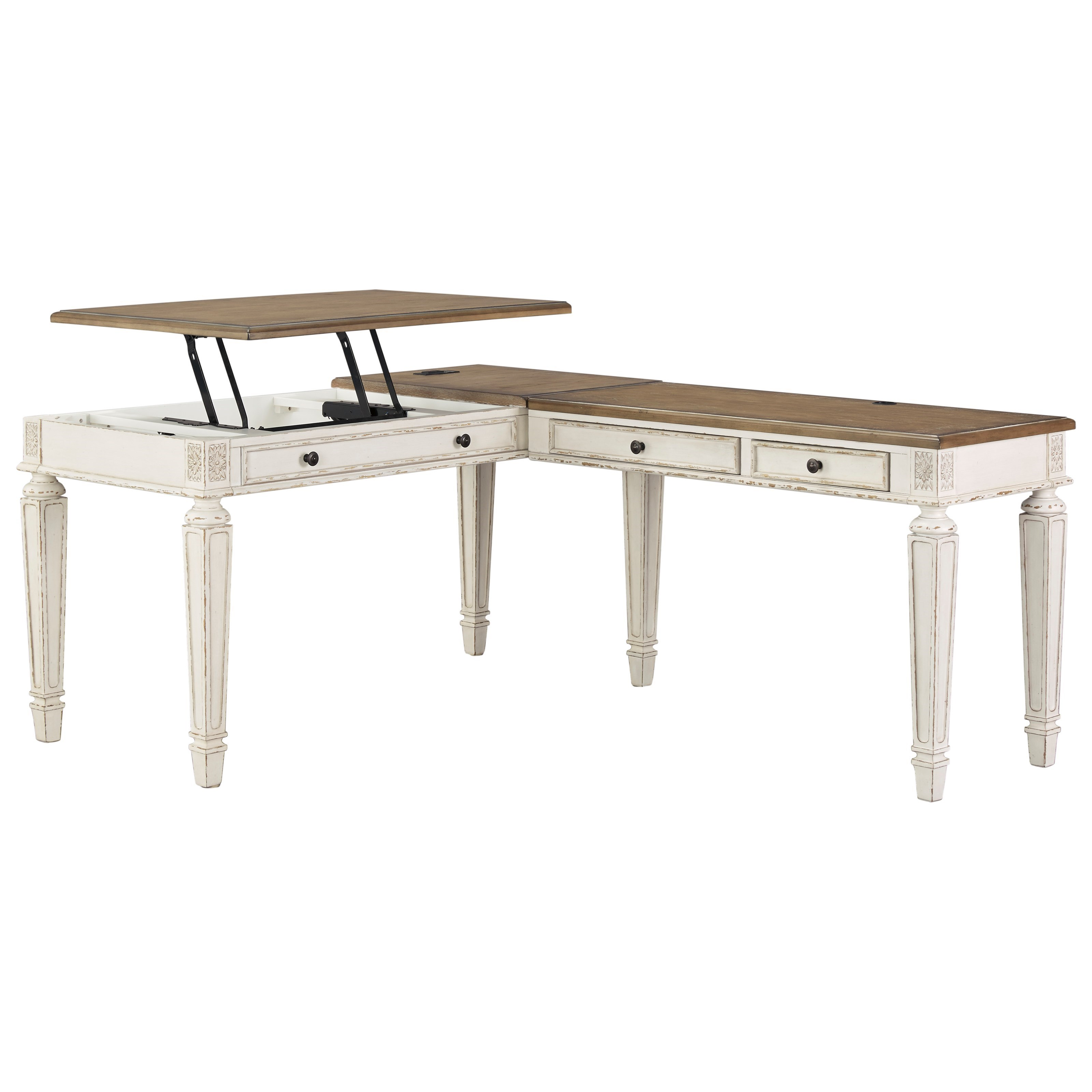 Realyn L Shape Desk with Lift Top by Benchcraft at Virginia Furniture Market