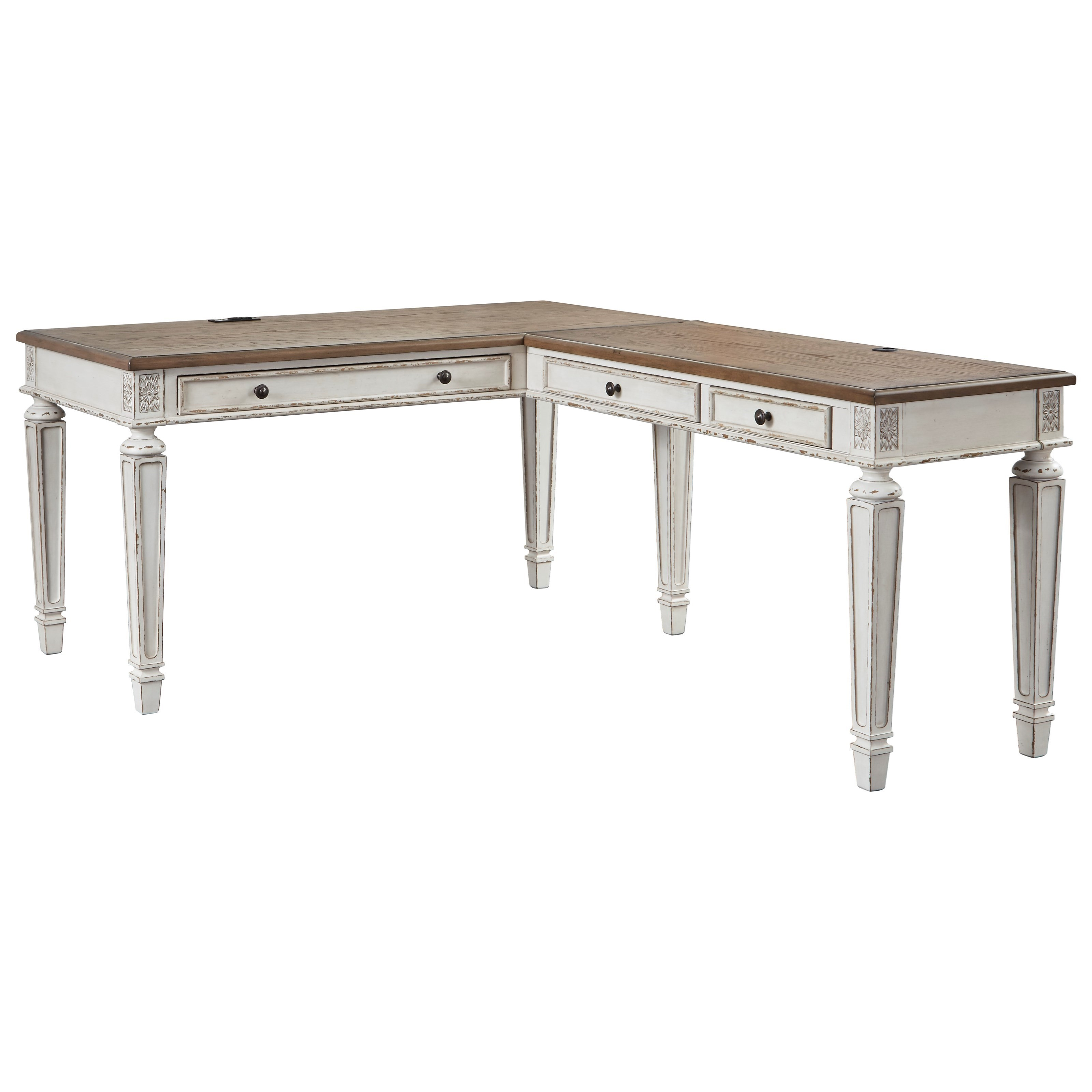 Realyn L Shape Desk by Signature Design by Ashley at Zak's Warehouse Clearance Center