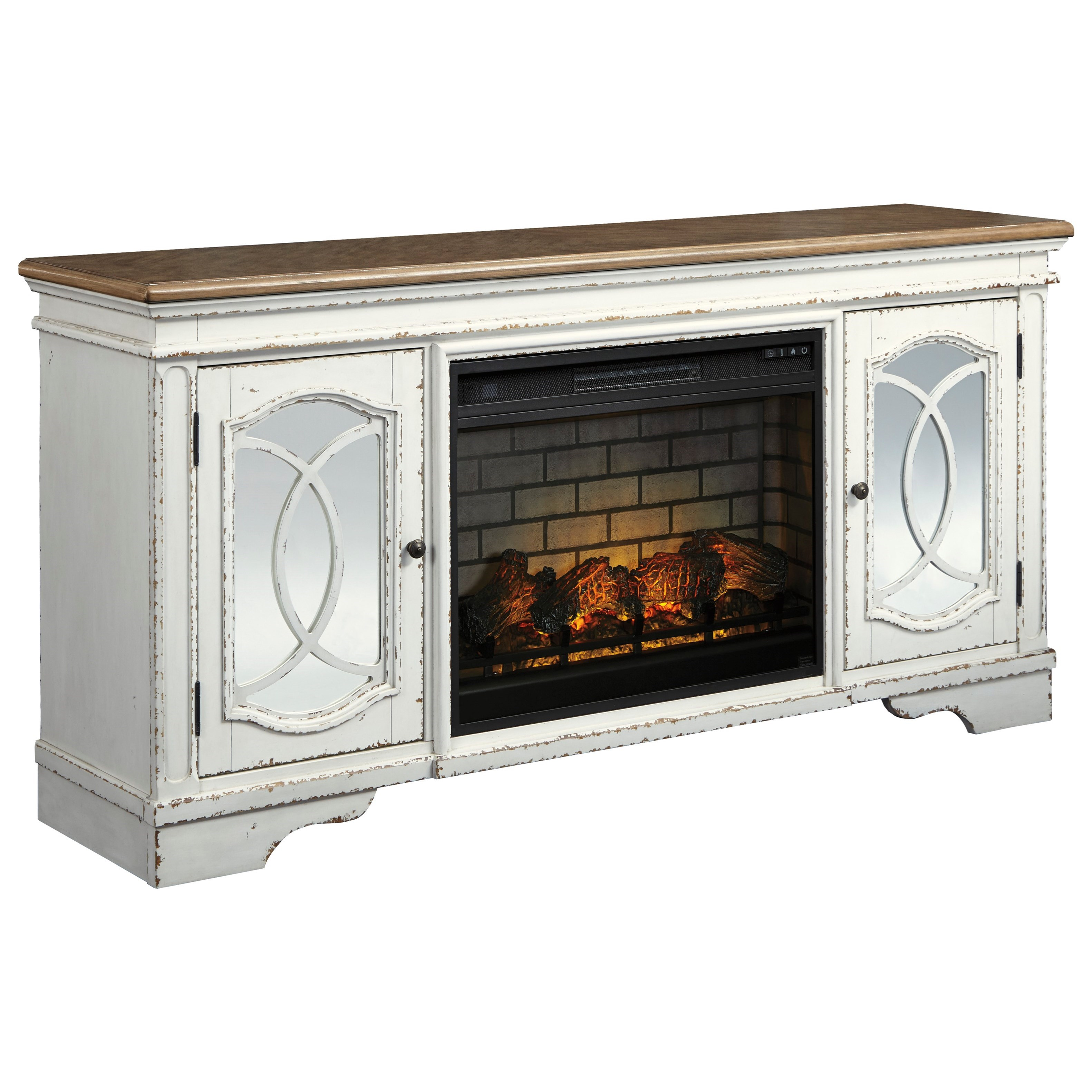 Realyn Extra Large TV Stand with Fireplace Insert by Ashley (Signature Design) at Johnny Janosik