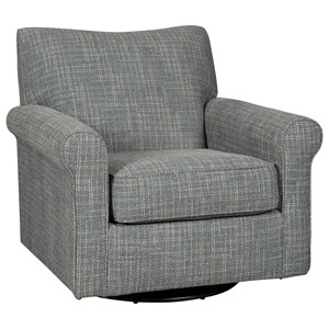Swivel Glider Accent Chair with Rolled Arms & Gray Fabric