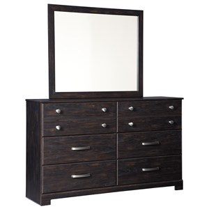 Contemporary 6 Drawer Dresser and Mirror Set