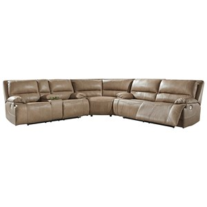 3-Piece Leather Match Power Reclining Sectional w/ Adjustable Headrests