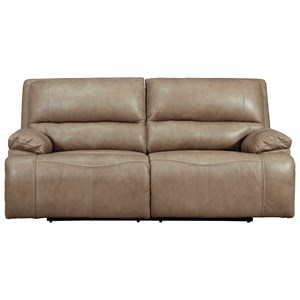Leather Match 2-Seat Power Reclining Sofa w/ Adj Headrests