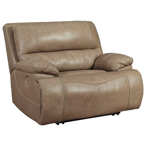 Leather Match Wide Seat Power Recliner