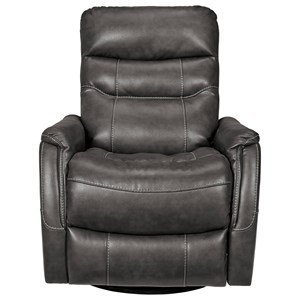 Contemporary Faux Leather Swivel Glider Recliner