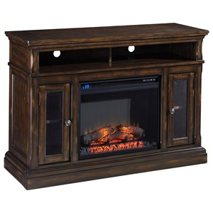 Signature Design by Ashley Roddinton Medium TV Stand with Fireplace