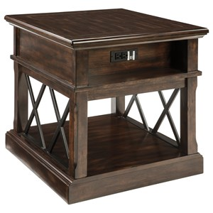 Rectangular End Table with USB Ports