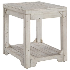 Rustic Rectangular End Table with Shelf