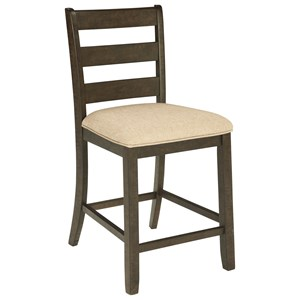 Counter Height Upholstered Barstool with Ladder Back