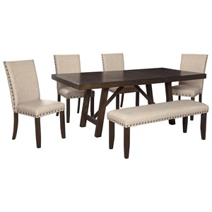 Dining Table Set for Six with Bench