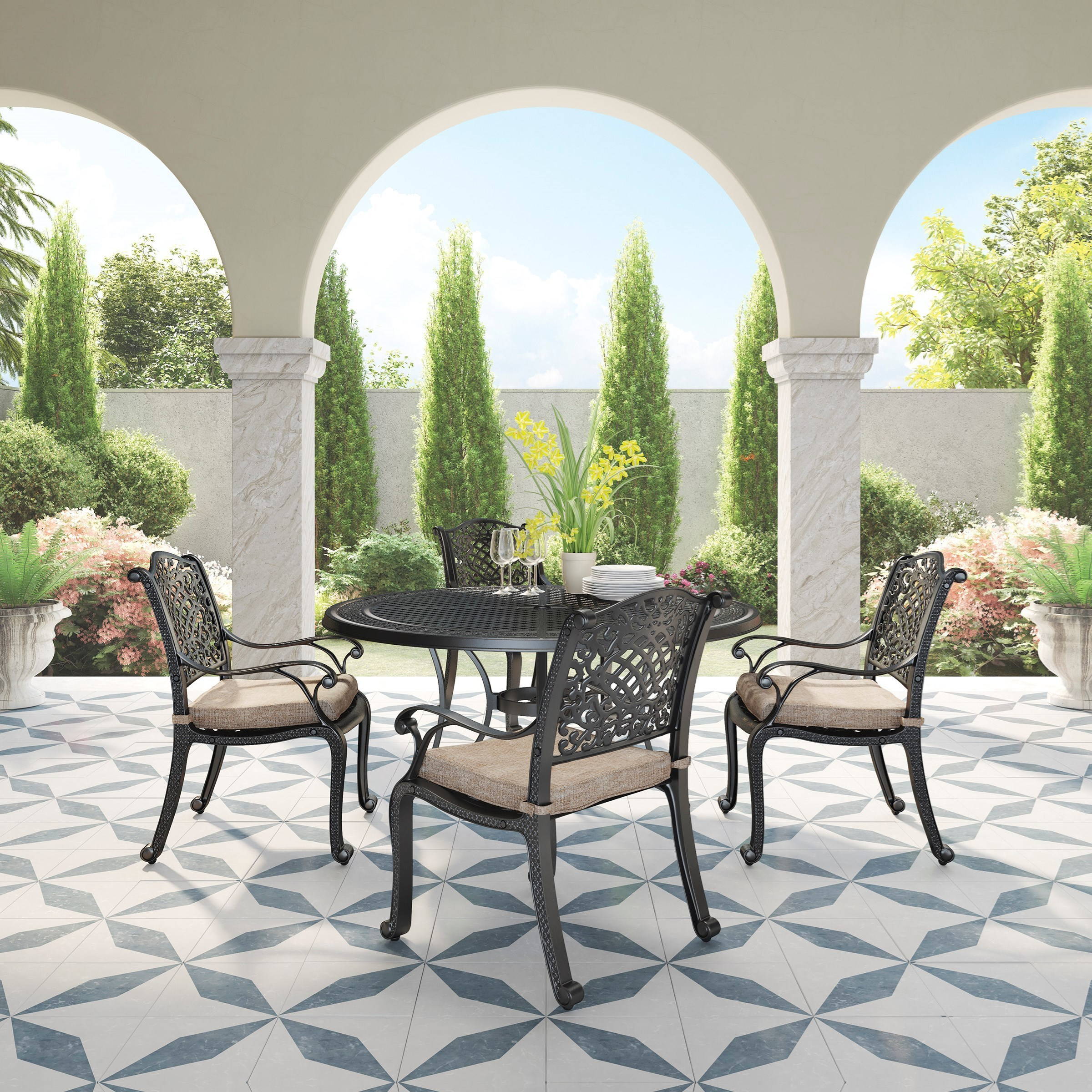 Rose View 5 Piece Outdoor Dining Set by Signature Design by Ashley at Lapeer Furniture & Mattress Center
