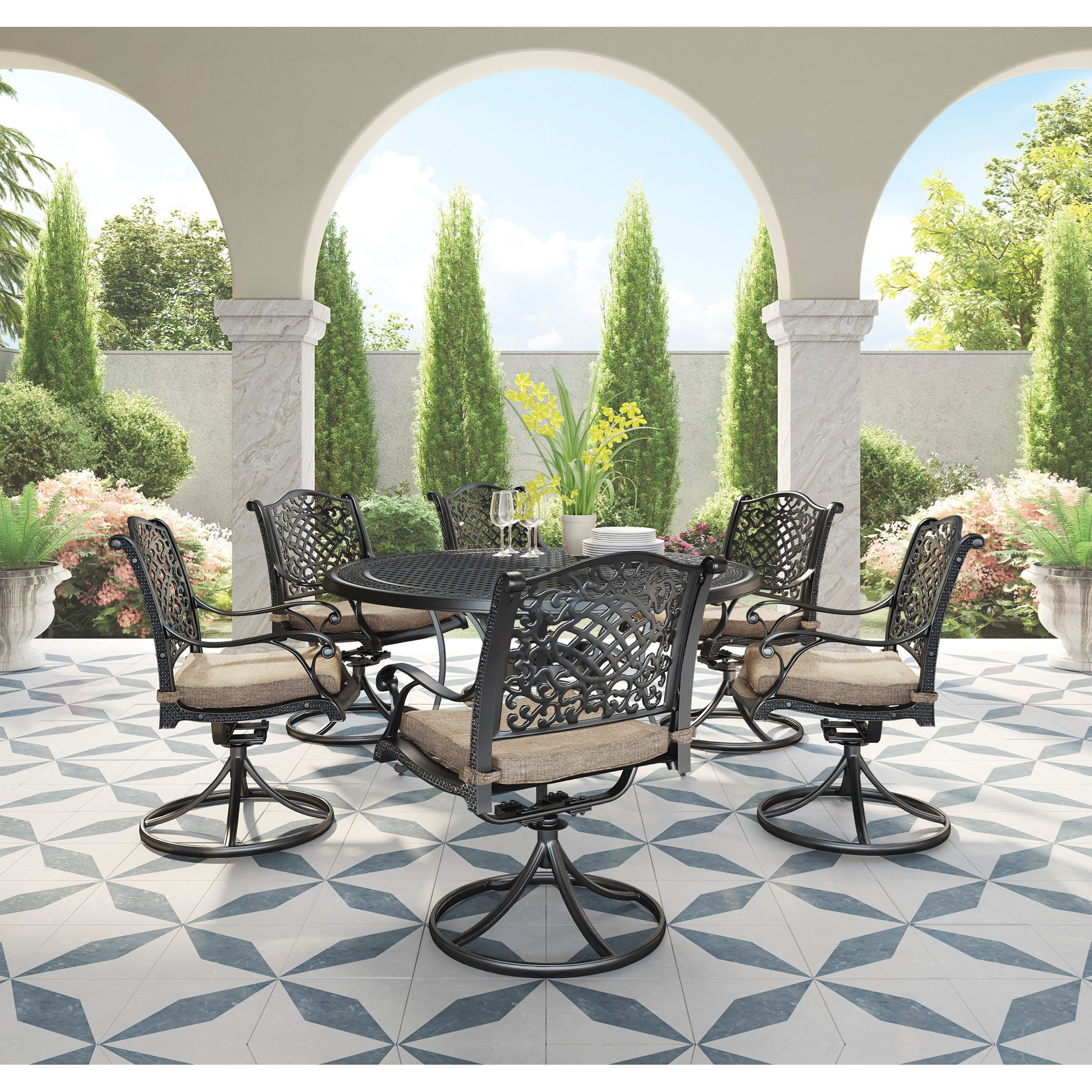 Rose View 7 Piece Outdoor Dining Set by Signature Design by Ashley at Lapeer Furniture & Mattress Center