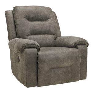 Contemporary Manual Rocker Recliner with Pillow Arms
