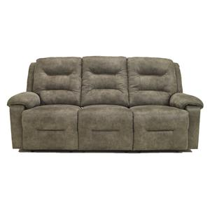 Contemporary Power Reclining Power Sofa with Chaise Style Leg Rests and Pillow Arms