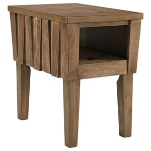 Contemporary Chair Side End Table with USB Ports