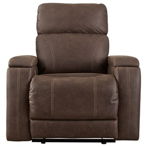 Contemporary Power Recliner with Adjustable Headrest and Built-In USB Charger