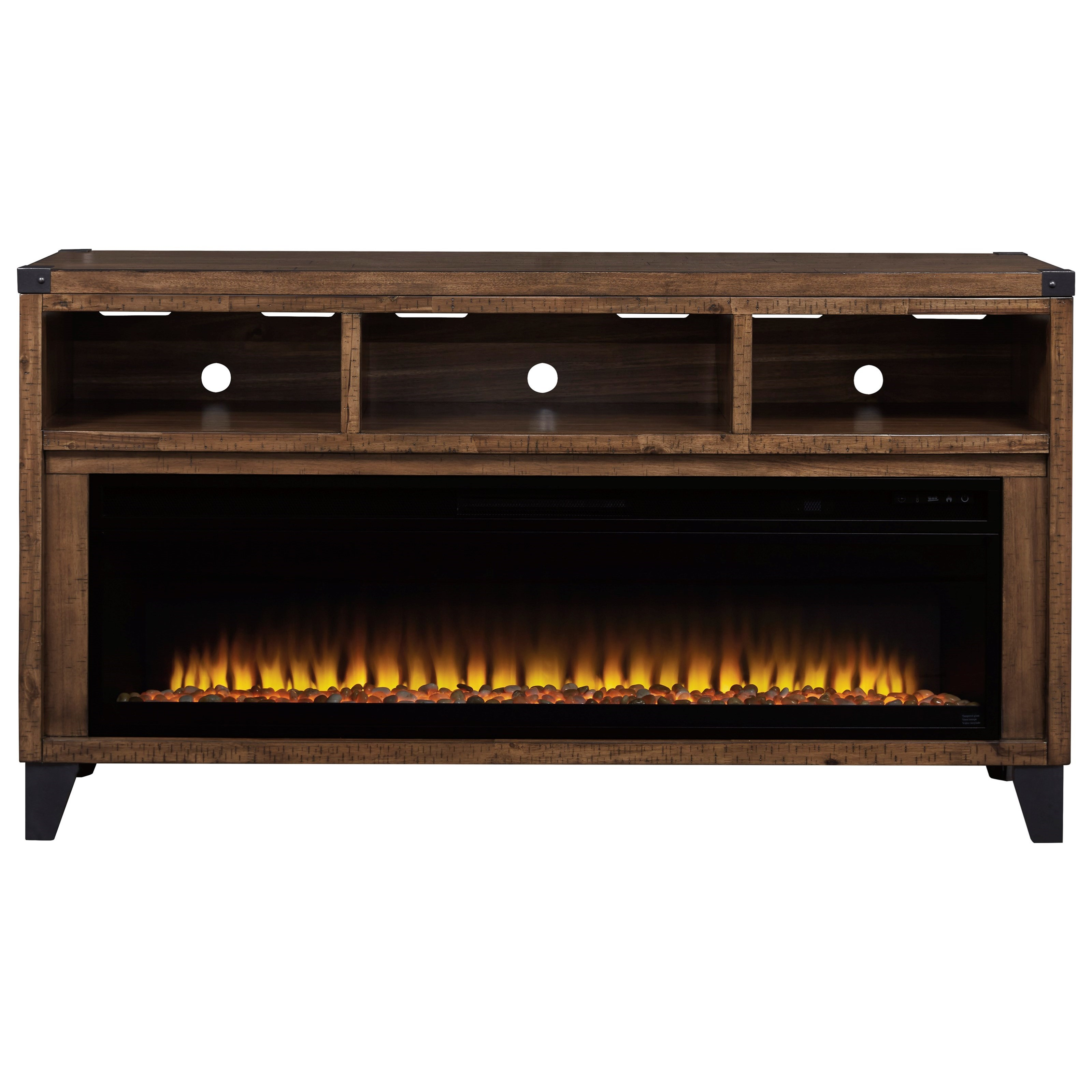 Raffia Large TV Stand w/ Fireplace Insert at Rotmans